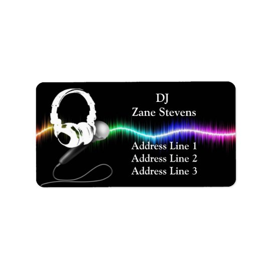 DJ Microphone Headphones Address Labels