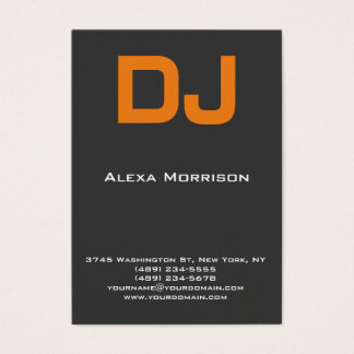 DJ Modern professional grey orange Business Card