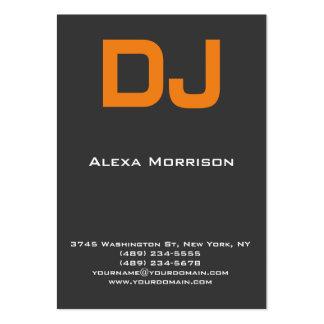 DJ Modern professional grey orange Large Business Card