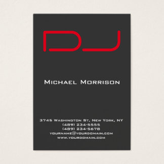 DJ Modern professional grey red Business Card