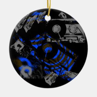 DJ Music Cassette Round Ceramic Ornament