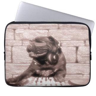 DJ music dog bulldog tech photo Laptop Computer Sleeve