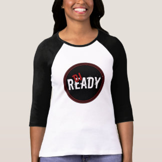DJ Ready  Ladies 3/4 Sleeve Raglan (Fitted), White T-Shirt