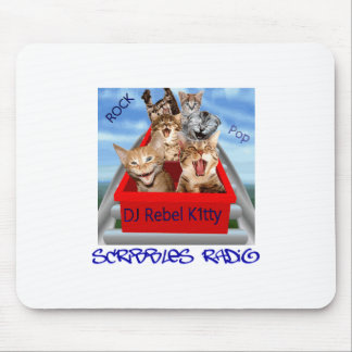 Dj Rebel Kitty Scribbles Radio Mouse Mat Mouse Pad