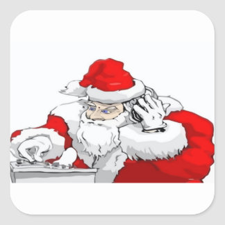 DJ Santa Claus Mixing The Christmas Party Track Square Sticker