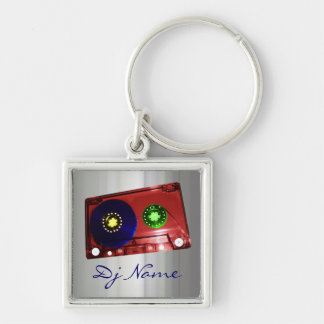 Dj Silver-Colored Square Keychain