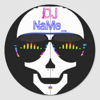 Dj Skull - Add Your Name Classic Round Sticker