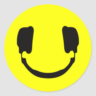 DJ smiley Classic Round Sticker