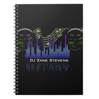 DJ Speakers, Music Staff, Notes Sound Bar Notebook