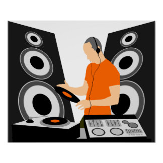 DJ Spinning Vinyl At Decks Poster
