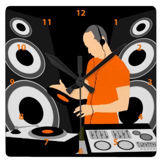 DJ Spinning Vinyl At Decks Square Wall Clock