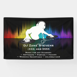 DJ Spinning Vinyl Banner