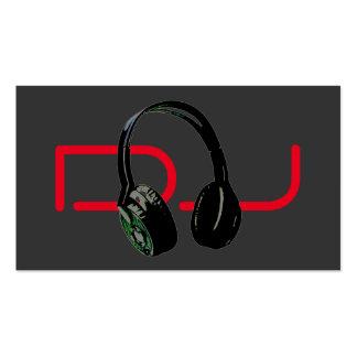 DJ Stylish Red Grey Background Headphone Business Card
