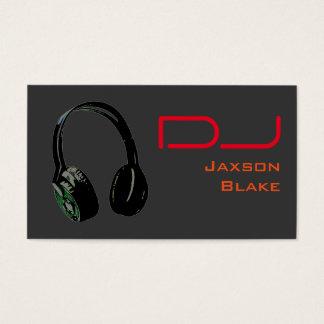 DJ Stylish Red Orange Grey Background Headphone Business Card