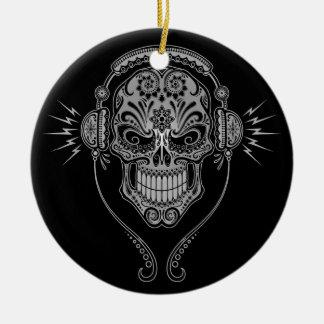 DJ Sugar Skull – Black Round Ceramic Ornament