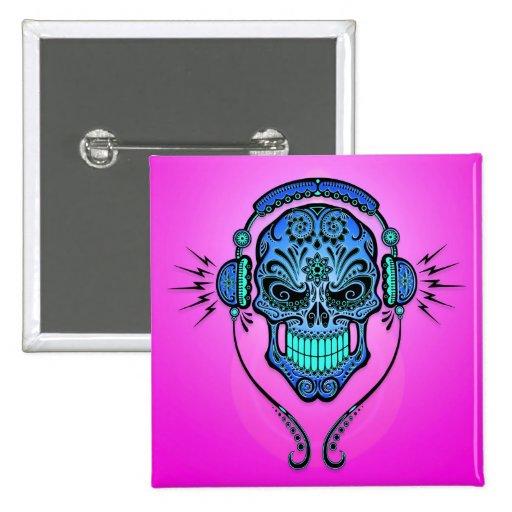 DJ Sugar Skull – Blue and Purple Buttons