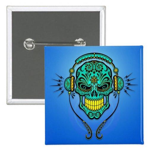 DJ Sugar Skull – Blue and Yellow Pin