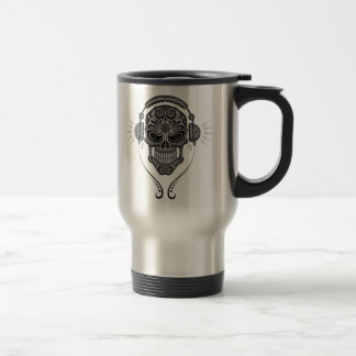 DJ Sugar Skull – Grey Travel Mug