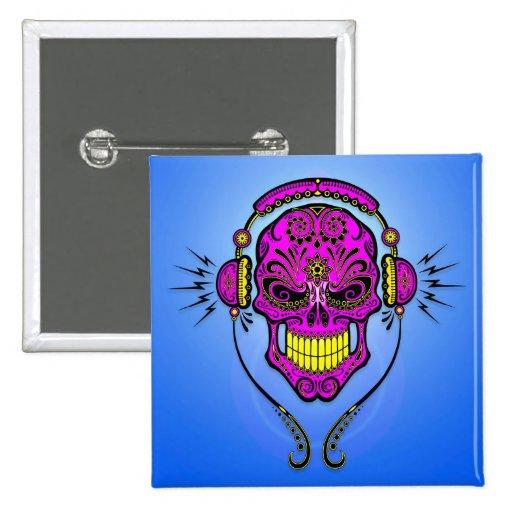 DJ Sugar Skull – Purple and Yellow Pins