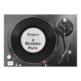 DJ turntable birthday Invitation