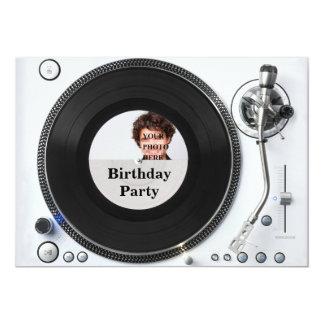 DJ turntable photo birthday Invitation