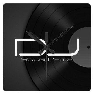 Dj Wall Clock with Vinyl Background