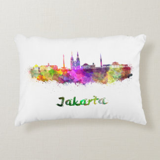 Djakarta skyline in watercolor accent pillow
