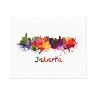 Djakarta skyline in watercolor canvas print