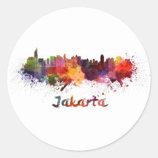 Djakarta skyline in watercolor round sticker