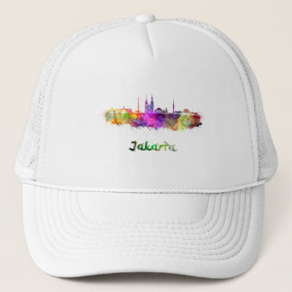 Djakarta skyline in watercolor trucker hat