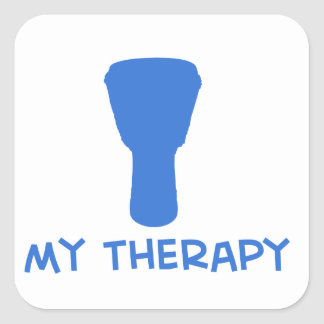 Djembe my therapy designs square sticker