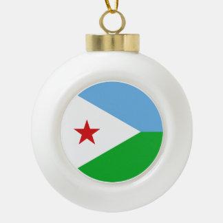 Djibouti Flag Ceramic Ball Christmas Ornament