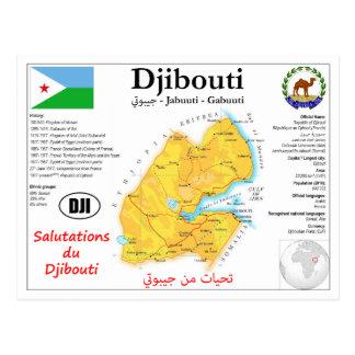 Djibouti map postcard