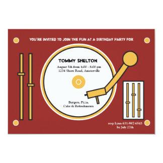 """DJ's Turntable Invitation 5"""" X 7"""" Invitation Card"""
