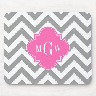 Dk Gray Lg Chevron Hot Pink Quatrefoil 3 Monogram Mouse Pad