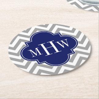 Dk Gray Lg Chevron Navy Quatrefoil 3 Monogram Round Paper Coaster