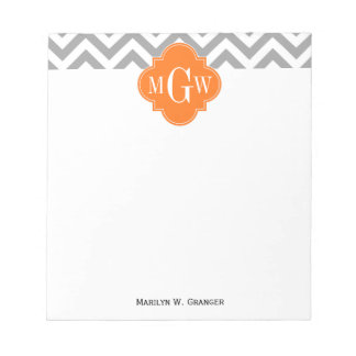 Dk Gray Lg Chevron Pumpkin Quatrefoil 3 Monogram Notepad