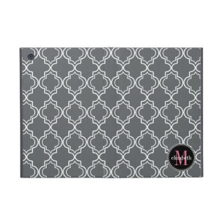 Dk Gray Pink White Moroccan Quatrefoil Monogram Cover For iPad Mini