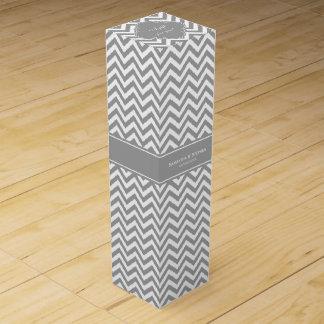 Dk Gray White LG Chevron Dk Gray Name Monogram Wine Gift Box