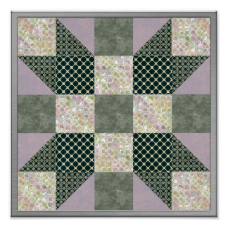 Dk Green & Lavender Star Patch Quilt Poster