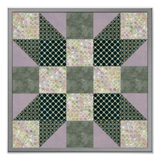 Dk Green & Lavender Star Patch Quilt Posters