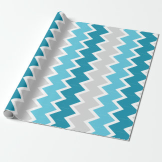 Dk Teal, Lt Teal and gray chevron Wrapping paper