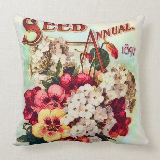 DM Ferry Flower Seeds Vintage Advertisement Throw Pillow