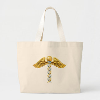DNA Caduceus Concept Large Tote Bag