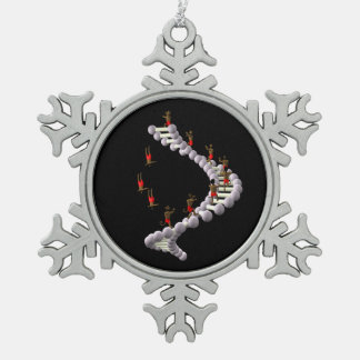 DNA: Darwin's Evolution Snowflake Pewter Christmas Ornament