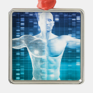 DNA Encoding and Genetic Code as a Science Silver-Colored Square Ornament