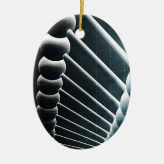 DNA Helix Abstract Background as a Science Concept Ceramic Oval Ornament