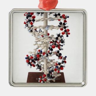 DNA Model Silver-Colored Square Ornament