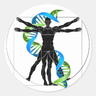DNA Vitruvian Man Classic Round Sticker