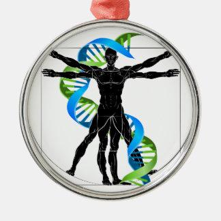 DNA Vitruvian Man Metal Ornament